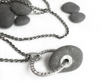 Lake Erie Beach Stone Tube Riveted Pendant Sterling Silver Long Cable Chain Necklace