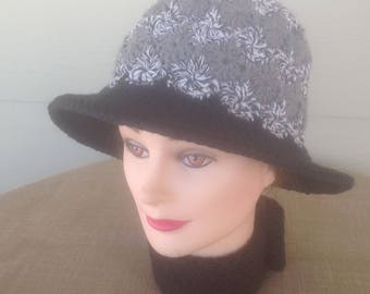 Crocheted Wheel Stitch Brimmed Hat - PRICE REDUCED