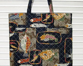 Handy Tote Quilted Asian Japanese Fabric Fish, Sakana Design Navy