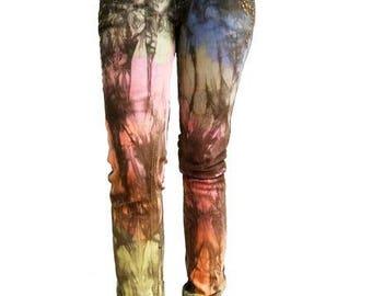 Agoraphobix rainbow dip upcycled denim size 24 | low waist skinny jeans | 90s clothing