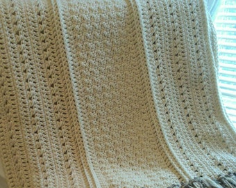 Crochet Aran Throw Blanket with Fringe, Cream Crochet Blanket, Handmade Afghan, Wedding Gift