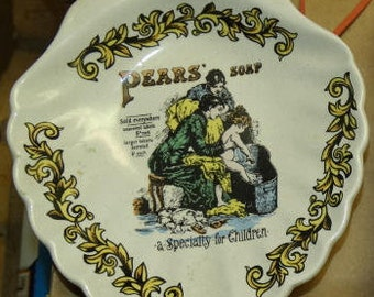 Collector Plate, Pears Soap vintage ad plate Lord Nelson Pottery, Trivet, Soap Dish,  Folk Art, Country Decor, Bathroom Decor, Handcrafted