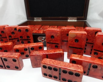 Dominoes 'Hot Lava' Hand Painted 28 Piece Deluxe Professional Size Double Six Domino Set in veneer case with latch, alcohol inks, orange red