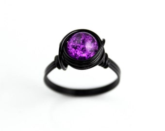 Purple Black Ring - Wire Wrapped Ring - Purple Jewelry - Rings For Teens - Statement Ring - Beaded Ring - Girls Rings - Wire Wrapped Jewelry