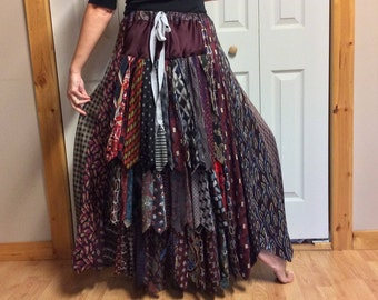 Long Silk Bustle Skirt/Womens Plus Size/Upcycled Clothes/Recycled Neckties/Black Silver Red Tie Skirt/Repurposed Clothing/Size Large to XL