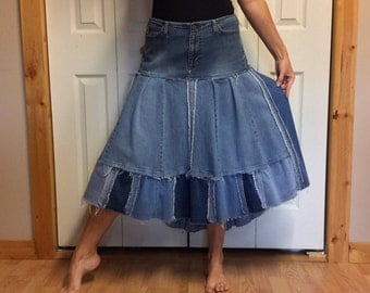 Denim Maxi Skirt/Plus Size Jean Skirt/Midi Bustle Skirt/Upcycled Denim/Recycled Blue Jeans/Repurposed Clothing/Cowgirl/Womens Size XL