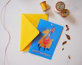 Llama birthday card and envelope, yellow & blue funny illustration, greeting card for celebrate kids or llama addicted birthday, alpaca card