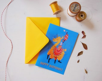 Llama birthday card and envelope, yellow & blue fun illustration, greeting card for celebrate kids or llama addicted birthday, alpaca card