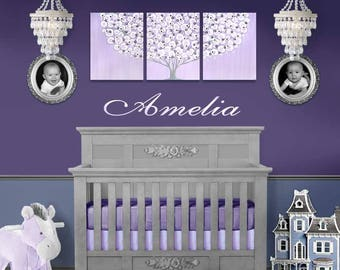 Purple Nursery Wall Art Canvas Lilac and Gray Decor for Baby Girl - Large Flowering Tree Painting on Triptych - 50x20