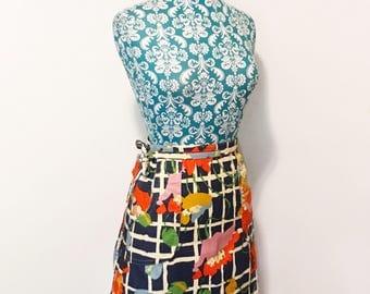 Vintage womens skirt // 1960's wrap skirt // 60's groovy dayglo trippy print