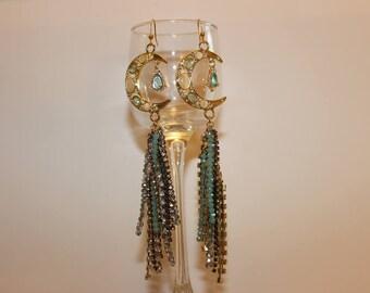 Boho Statement Earrings. Gold Crescent Earrings with Indulgent Tassels. Big, Bold, Boho Crescent Dangles with Stunning Tassels Boho Earrings