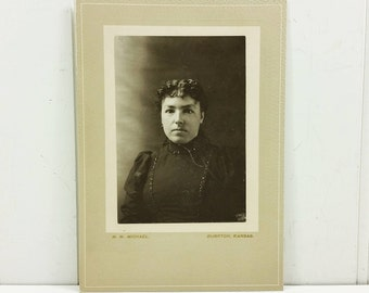 Victorian Woman in Black High Collar Dress with Glass Buttons, Antique Found Photo Cabinet Card