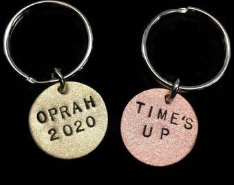 Times Up, Me Too, Oprah 2020, Feminism Keychain, Feminist Gifts, Harvey Weinstein, Hollywood, Slut Shame, Assault Victim, Metal Taboo