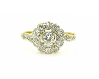 Antique diamond cluster Engagement ring 18ct Platinum Old cut daisy halo ring English Victorian Edwardian wedding Anniversary*FREE SHIPPING