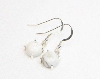 Howlite Earrings - 10MM - Sterling Silver - Genuine Gemstones - Cabochon Earrings - Dangle Earrings