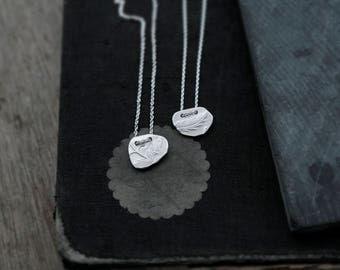 Keepsake Fern or Vine silver slate pendant necklace