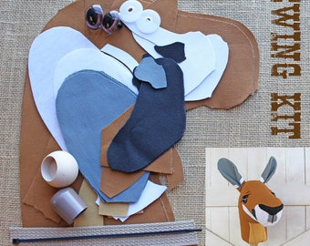 """Small Kangaroo Stick Horse Hobby Horse """"Skippy"""" Sewing Kit Sewing Project Toddler Size"""