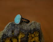 Turquoise Ring - Sterling Silver - Double Band - Robin's Egg Blue - Vibrant Blue - Sky Blue - Wood Grain - Size 5.25 - Tree Bark - Woodland