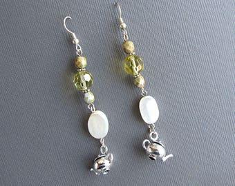 White Tea Dangle Earrings Long Mother of Pearl Glass Bead Teapot Kettle Charm Boho Chic