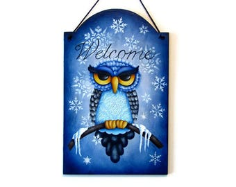 Owl Winter Welcome Sign,  Handpainted Wood Home Decor, Hand Painted Welcome Wall Art, Tole Decorative Painting