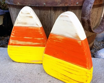 "Set of Two Rustic Wooden Candy Corn Indoor or Outdoor Halloween / Fall Decorations 9.5"" x 7.25 "" x 1.5"""
