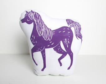 Plush Horse Shaped Pillow. Choose ANY Color. Hand Woodblock Printed To Order. Takes 1 week to make.