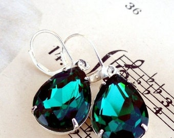 MOVING SALE On Sale Emerald Green Pears, Hollywood Glam Pear Shaped Jewels Set in Sterling Silver Plate Earrings