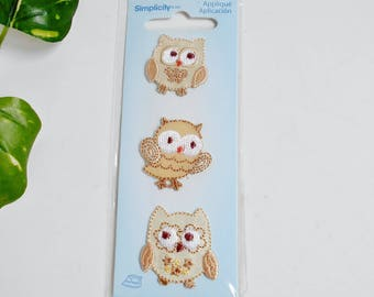 Owl Applique Simplicity Iron On Small Cute Adorable Whimsical Little Brown Hoot-Owl Embroidered Look Craft Patch