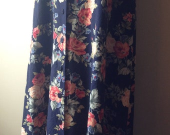Vintage Navy Button Skirt with Rose Floral by JH Collectibles, ILGWU Tag