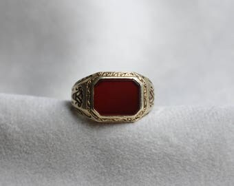 Vintage 14k Yellow Gold & Carnelian Uncarved Signet Ring, size 4