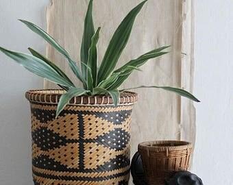 Vintage Round Woven Rattan Reed Basket