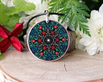 Colorful Floral Pattern Abstract Ornament Necklace, Polymer Clay