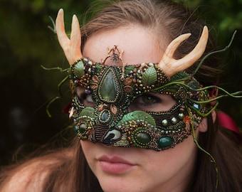 "Green Masquerade Ball Mask, Forest Spirit, Deer Mask, Stag Costume, Cernunnos Mask. Green Man, ""Guardian of the Glen"", FREE shipping"