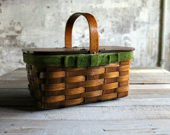Vintage Wooden Basket Purse / Lunch Basket