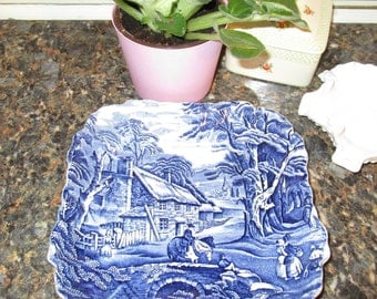 Mid Century Staffordshire Old Foley James Kent Blue & White Square Serving Plate