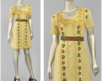Vintage 90s Indian Tunic Dress | Floral Embroidered Ethnic Dress | Velvet & Mirror Embroidery Cotton Mini Dress | Gold Maroon | Small Medium