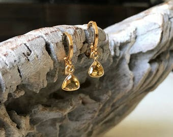 Gold Citrine Trillion Cut Bezel Earrings