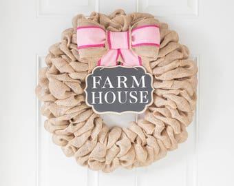 Spring Decor, Spring Wreath for Front Door Wreaths, Easter Wreath, Burlap Wreaths, Modern Farmhouse Wreath