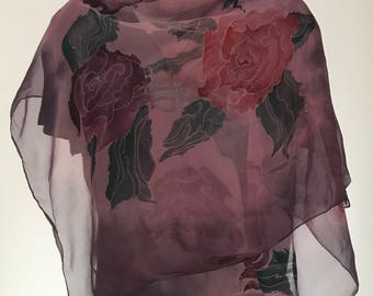 Hand painted silk scarf. Purple,