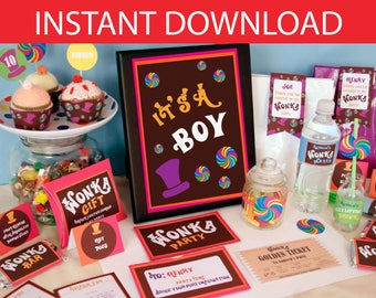 Willy Wonka Baby Shower DIY Printable Kit - INSTANT DOWNLOAD