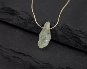 Green Amethyst Necklace, Raw Crystal Necklace, Healing Crystal Jewelry, Birthstone Jewelry, Rough Stone Necklace, Gift Ideas for Her, Unique