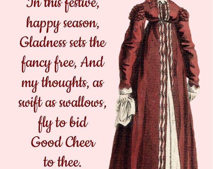 Christmas Card ~ In This Festive Happy Season ~ Christmas Postcard ~ Jane Austen Fashion ~ Happy Holiday Greetings ~ Merry Christmas