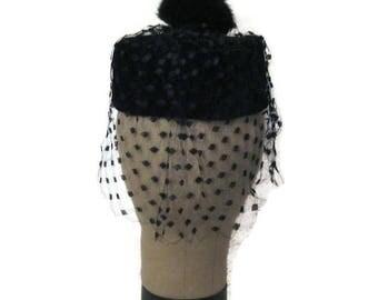 60s Velvet Hat, Black Velvet, Hat with Fur Pompom, Black Pillbox Hat, Velvet Pillbox, Pillbox with Veil, Jackie O Hat, Black Dress Hat,