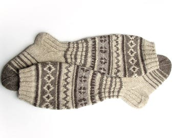 Knee Socks EU size 37-38.5 - High Hand Knitted Patterned Fair Isle Socks - 100% Natural Organic Undyed Wool - Warm Autumn Winter Clothing