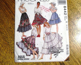 BOHO Tiered Skirt / Patchwork Front Buttoned Peasant Skirt / Ruffled Gypsy Skirt - Size (8 - 10 - 12) - UNCUT ff Sewing Pattern McCalls 6442