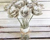 12 Book Page Flowers,Paper Flowers,Book Flowers,Paper Roses,Dozen Paper Stem Roses,Eco Wedding Flower,DiY Wedding Flowers(ITEM:TPG73B)