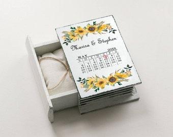 White Ring Box Sunflowers Wedding Box Wedding ring box Ring Bearer Box Save the date Еngagement box Proposal Box Ring Holder Custom Ring Box