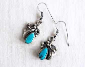 Turquoise Dangle Earrings Vintage Southwestern Native American Sterling Silver Dangles Signed Blue Stone Drops