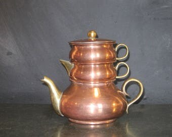 Vintage Copper Stacking Tea Pot Set with Creamer and Sugar Bowl
