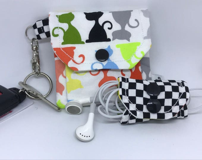 Featured listing image: For Cat Lovers // Pocket Key Chain Pouch and Cord Wrap // Gift Idea // Under 10 // Stocking Stuffer // Cat // Novelty Gift Idea // Pet Lover